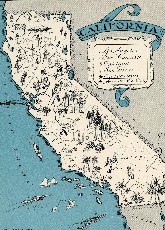 Original California Map 1931 Vintage Picture Map Antique Map