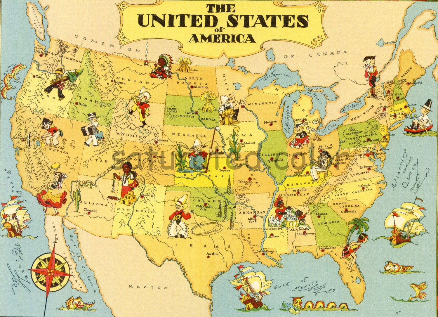 Vintage USA Map United States Map Vintage A Fun  Colorful - Full usa maps