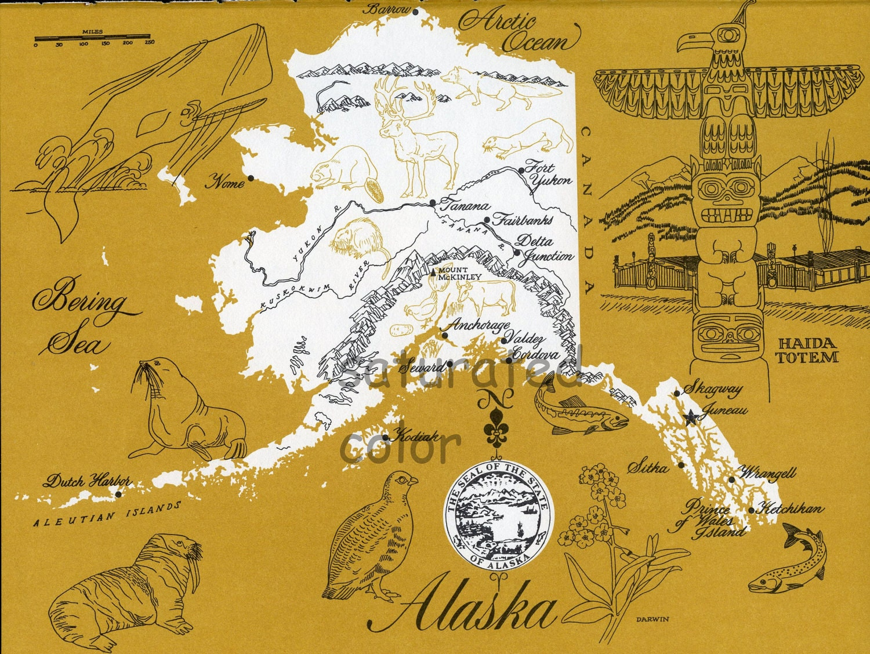 Valdez Alaska Map Alaska Map Original Vintage