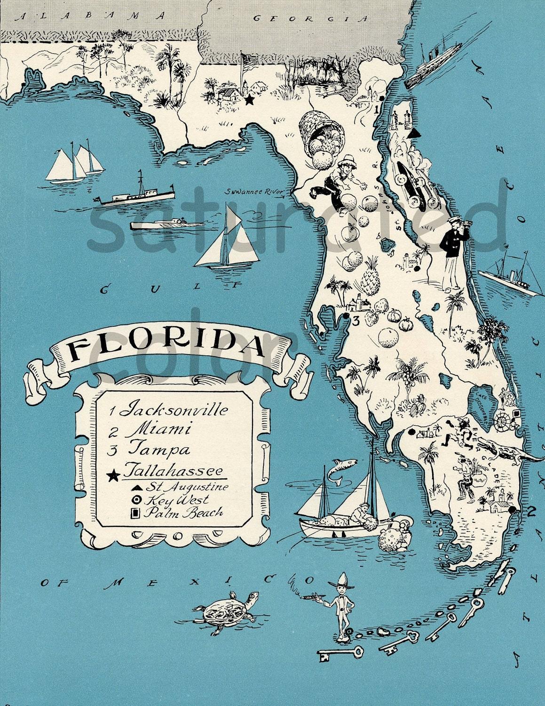 Florida State Map Etsy - Florida map mount dora