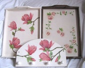 SET OF THREE  - hanger magnolia, tray magnolia, tray roses, decoupage