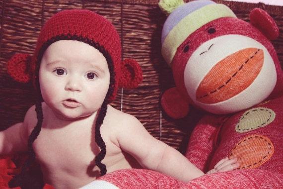 Crochet Monkey Hat ...Custom Hat, Pick 2 Colors..Newborn to Adult.
