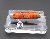 Keychain Secret Compartment, Toothpick Holder - Orange with Purple and Yellow Swirls