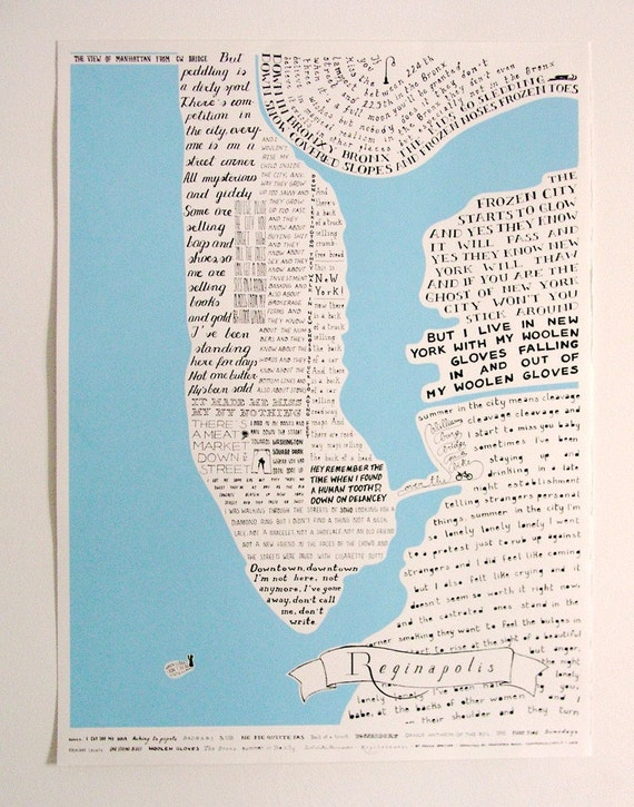 Reginapolis Map - New York city through Regina Spektor lyrics