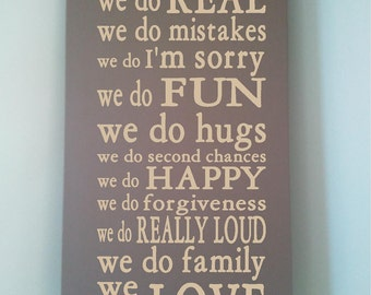 Beautiful 10x24 wooden board sign with subway art quote...In This House...