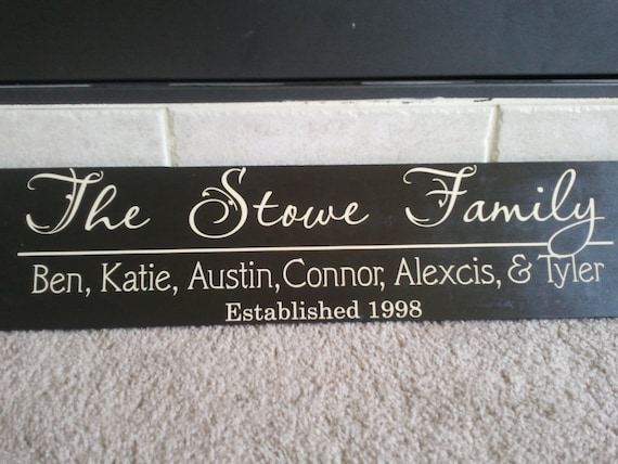 Beautiful 6x24 wooden board sign with Personalized family last name, family names, and est date...