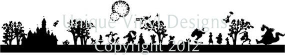 Disney silhouettte skyline features mickey mouse, bambi, pluto, cinderella castle..and so much more...vinyl letttering