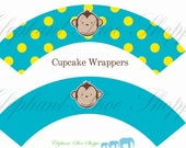 Boy Mod Monkey Cupcake Wrappers - Instant download - Digital file pdf