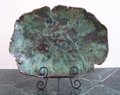 Green Centerpiece Ceramic Art Tray Abstract Clay Dish Mottled Colors Organic Rustic Pottery Plate