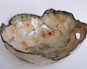 Ceramic Centerpiece Bowl Green Cream Abstract Clay Dish Organic Pottery