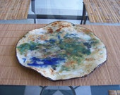 Contemporary Abstract Plate Green Blue Ceramic Centerpiece Art Tray Decorative Dish  Modern Clay Vessel Pottery Accent  Plate