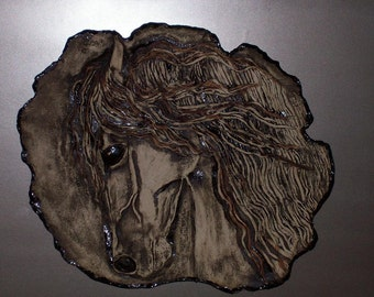 Sculpted Ceramic Horse Head Plaque Mounted On A Finished Wood Board Clay Wall Art Pottery  Wall Sculpture  Animal  Sculpture