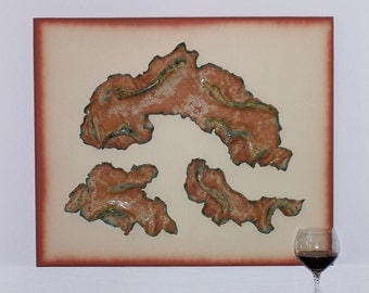 Abstract  Wall Sculpture Ceramic Wood Contemporary Terracotta White Clay Pottery Contemporary Wall Art