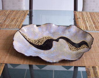 Animal Print Ceramic Centerpiece Art Tray Contemporary Art Plate Leopard Accent Abstract Pottery Vessel