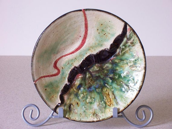 Ceramic Art Plate Sculpted Black Ribbon Abstract Contemporary Green Pottery Vessel Modern Clay Dish
