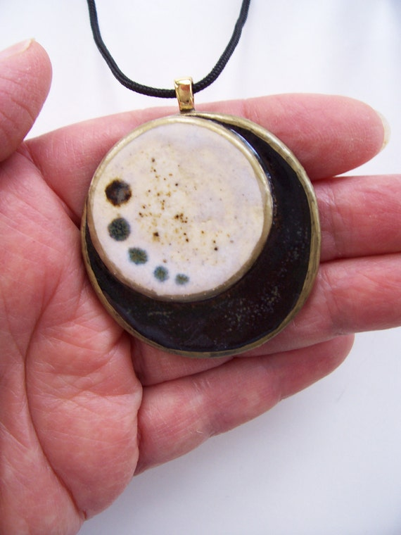 Contemporary Ceramic Pendant Black  White Two Circle Abstract Modern Ceramic Clay Necklace