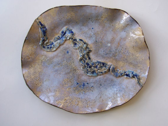 Soft Blue Ceramic Centerpiece Art Tray With Abstract Textured Design Clay Pottery Decorative Plate