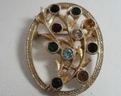Vintage brooch, signed Sarah Coventry brooch, crystal brooch,retro brooch, 1980s brooch