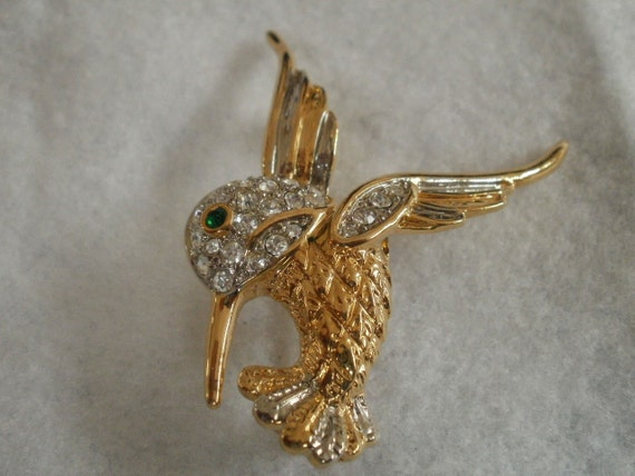 Vintage hummingbird brooch,1960s clear and green rhinestone, gold tone