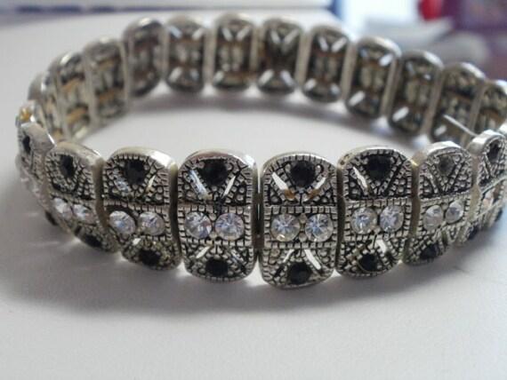 "Antique bracelet, vintage bracelet, marcasite bracelet, clear and onyx crystals , stretchy bracelet, 8 & 1/2"""