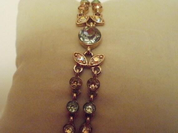 Vintage bracelet,  vintage jewelry, gemstone bracelet,flower and  leaf bracelet, 7 & 1/2 inch bracelet