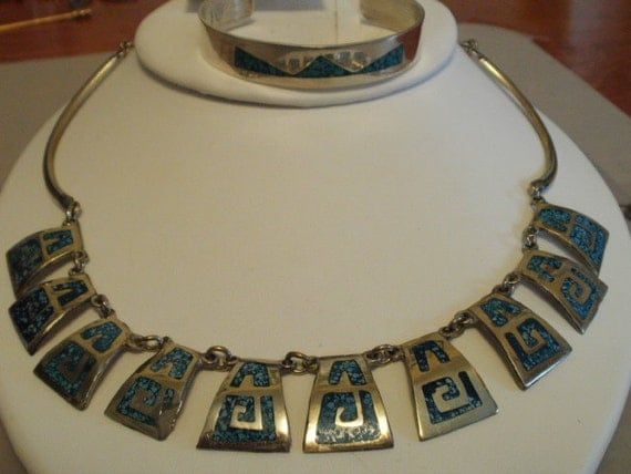 """Vintage jewelry, mexico necklace and bracelet, signed """"Hecho Mexico, RLL, TL-12, sterling silver jewelry"""
