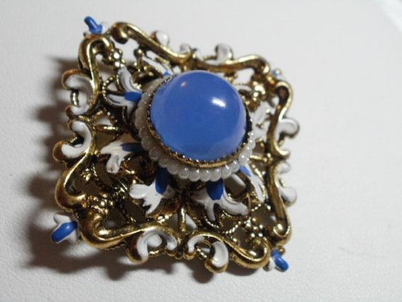 Vintage brooch, art nouveau brooch, antique brooch, vintage jewelry, enamel brooch, blue brooch