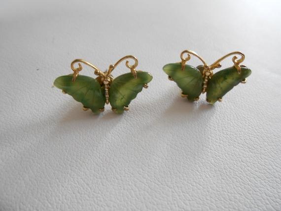 Vintage earrings, jade earrings, butterfly earrings, stud earrings