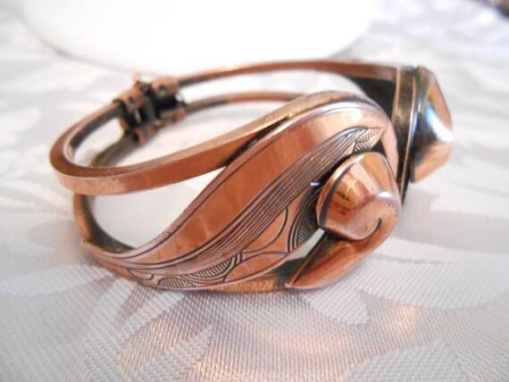 Vintage bracelet, copper bracelet, hinged bracelet, modernist bracelet, etched bracelet, designer bracelet