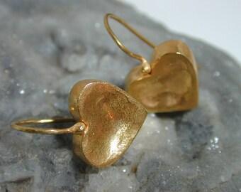 Heart gold earrings , Dangling earrings ,Casual earrings ,Medium aerrings ,Classic earrings ,Drop earrings , Women earrings