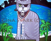8x10 Pirate Cat Tampa Gasparilla Whimsical PoP Art Print
