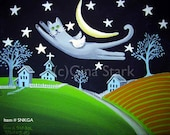 Grey Russian Blue Cat Angel Flying over Country side Moon Star Folk Art magnet