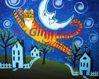 Flying Tabby Cat Whimsical Folk Art Magnet