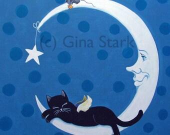 Black Sleeping Kitty angel on Crescent Moon Star Whimsical Folk Art Magnet