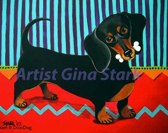 Dasher the Dachshund Dog with bone Print Whimsical Pop art print