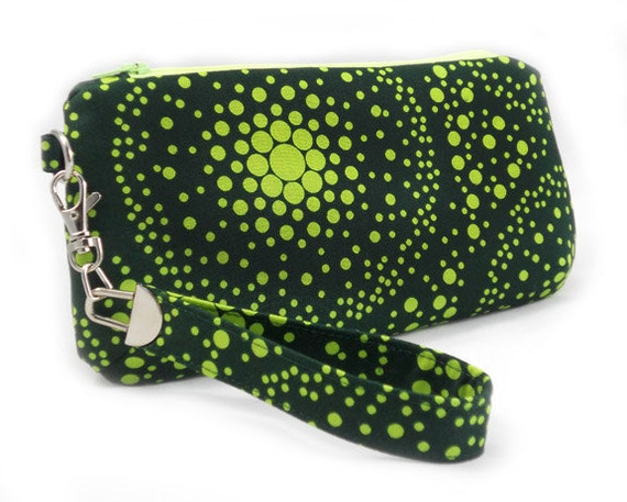 Lollipop Green - Zipper Clutch with Wristlet