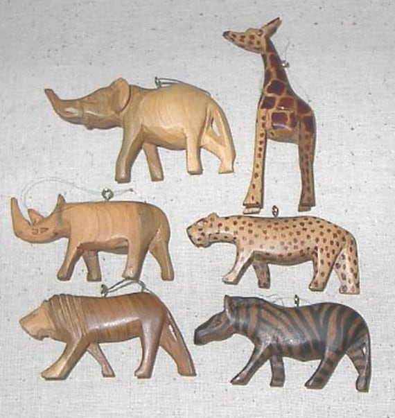 Six hand carved wood african animal hanging ornaments for