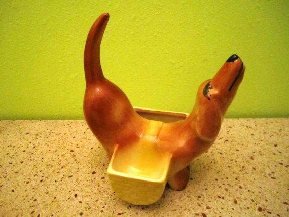 Vintage Ceramic Dachshund Dog Planter Storage By Suzyqvintage