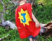 Large Red Initial Superhero Cape