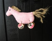 Ornament  Pink Christmas Horse on Antique Vintage Wooden Spools  No. 15