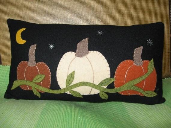 Three PUMPKIN PATCH Wool Applique Shelf Sitter Pillow