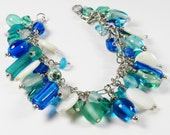 Blue Bracelet with Aqua and Shell Coin Beads Wire Wrapped  Adjustable