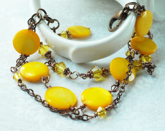 Yellow Shell Bracelet Copper Chain with Mother of Pearl and Swarovski Elements Crystals Three Strands