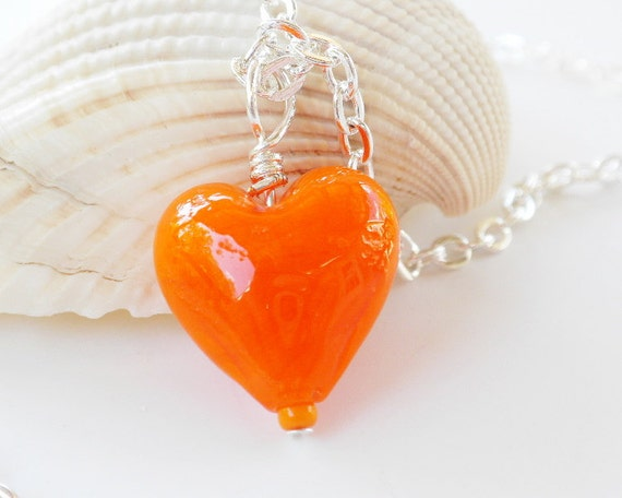 Orange Heart Necklace Pendant with Chain