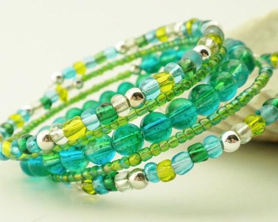 Memory Wire Bracelet Aqua Green Blue Silver Wrap Jewelry 5 Wraps