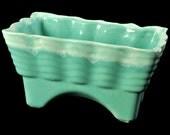 California Pottery Planter, Turquoise with White Drip Glaze Edge, CP Planter