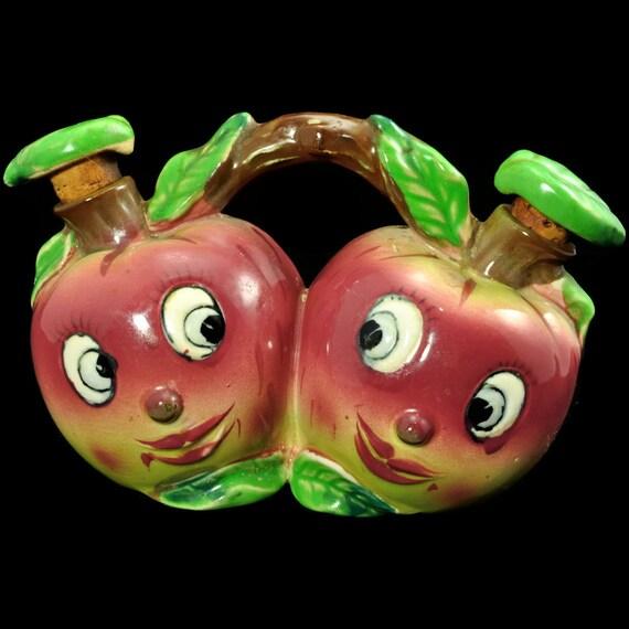 Oil & Vinegar Cruets - Anthropomorphic Apple Faces, 50s Napco tableware