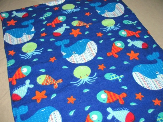 Flannel Burp Cloth, Whales, Fish, Octopus, Star Fish