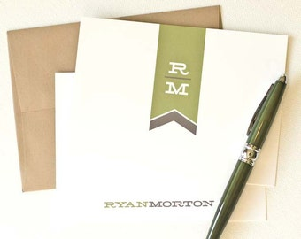Personalized Note Cards, Personalized Stationery // Boxed Set of 12 // MODERN MONOGRAM