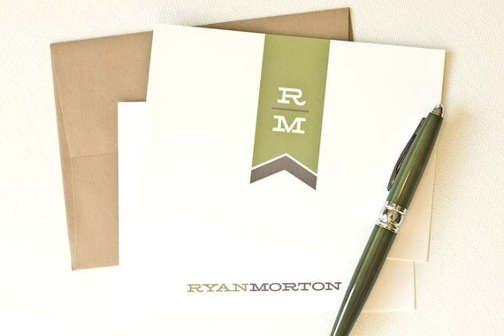 Personalized Stationery, Personalized Note Cards, Flat Stationery Set, Personalized Thank You Cards // MODERN MONOGRAM
